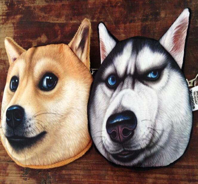 Dog Style Student Coin Purse Catalog animal 3D Dog printed pattern New unusual dog purse factory wholesale Pug fabric children's pouch