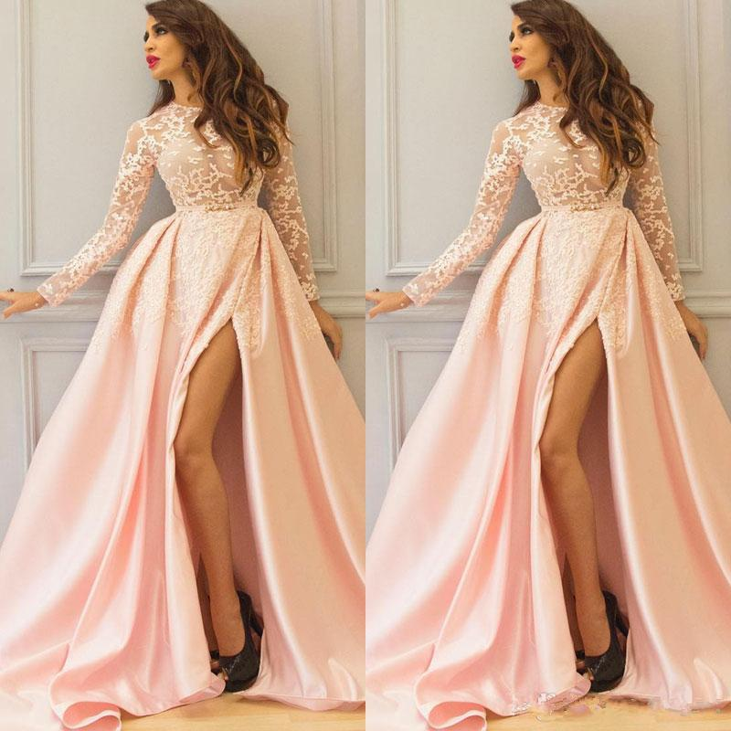 A Line Long Sleeve Prom Dresses Lace Winter Style Side Split New