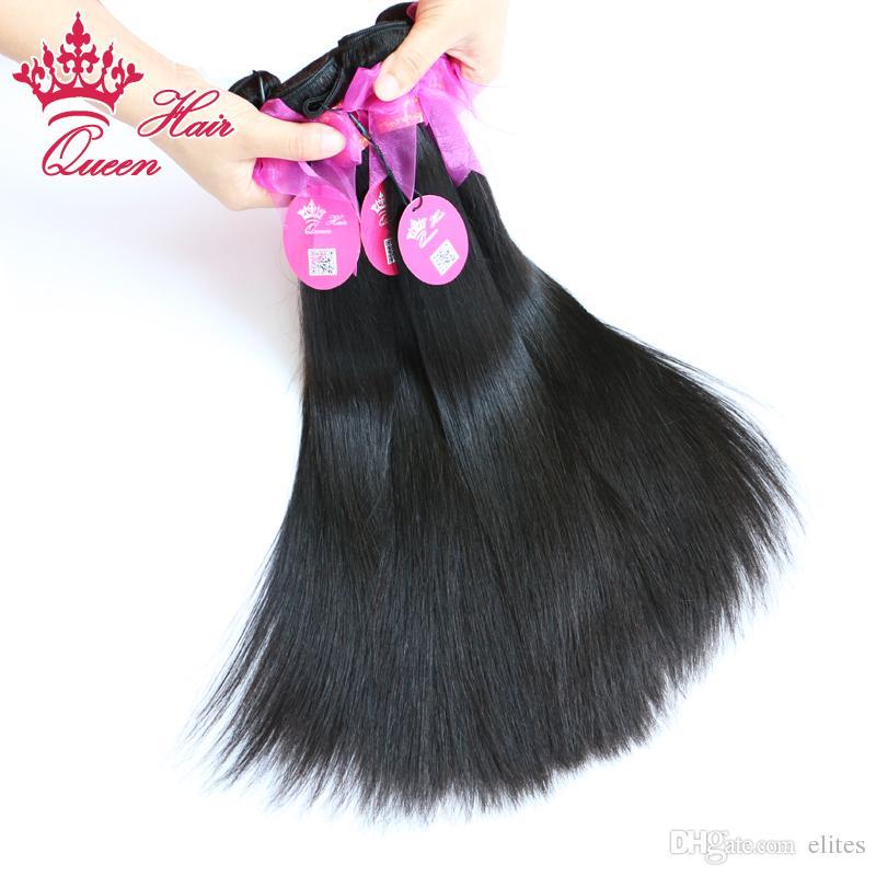 Queen Hair Products 100% Brazylijski Dziewiczy Human Włosy Wątek Naturalne Proste 8-28 cal 1 Sztuk / partia Dziewiczy Brazylijski Ludzki Włosy Prosty Naturalny Kolor 1B Szybka Wysyłka