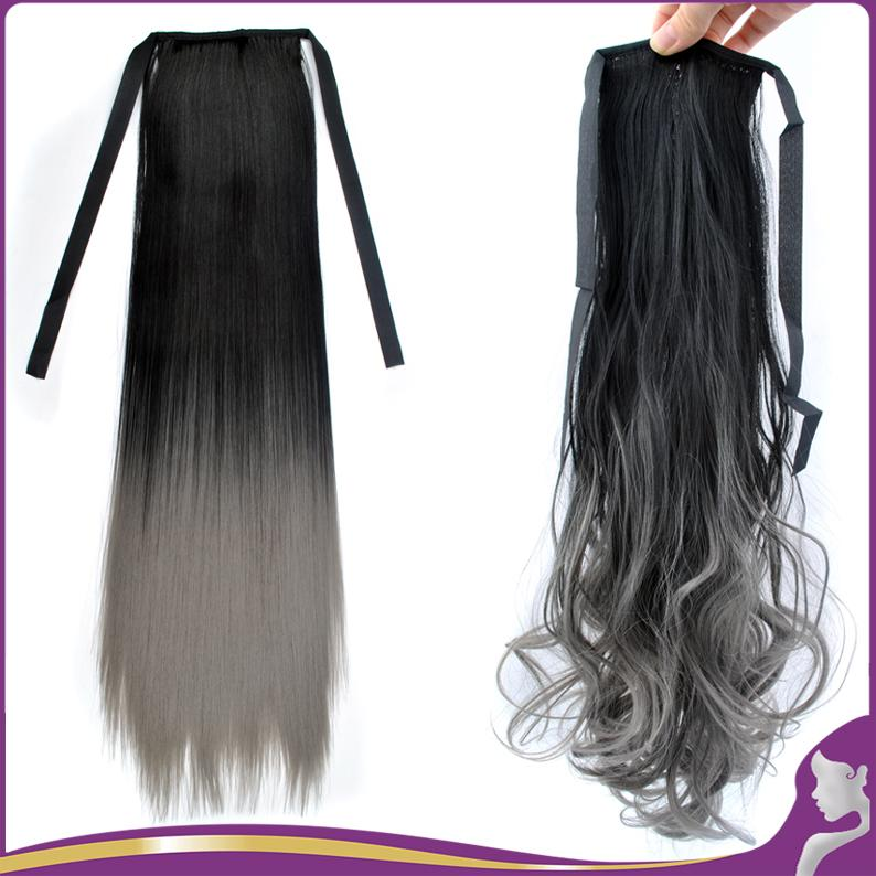 Wholesale Ombre Color Long Straight Black To Grey Ponytail 24
