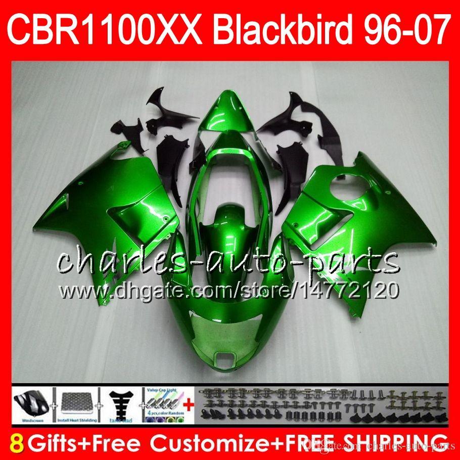 Green black Body For HONDA Blackbird CBR1100 XX CBR1100XX 96 97 98 99 00 01 81NO7 CBR 1100 XX 1100XX 1996 1997 1998 1999 2000 2001 Fairing