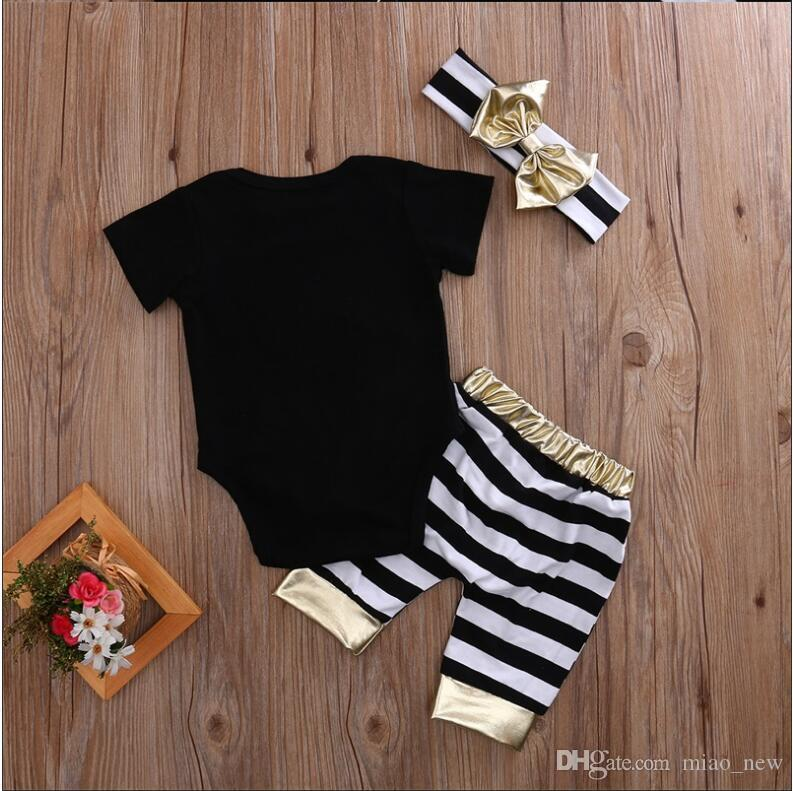 2017 spring and summer fashion stripes gold hair with three sets of baby baby three sets of letters printed jeans