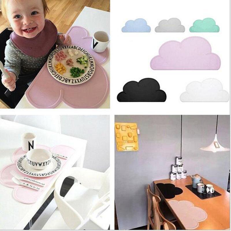 Çevre dostu 1 Adet Silikon Bulut Şekli Yalıtım Mutfak Placemat Sevimli Çocuklar Placemat Ped Yemek Masası Mat Coaster Noel