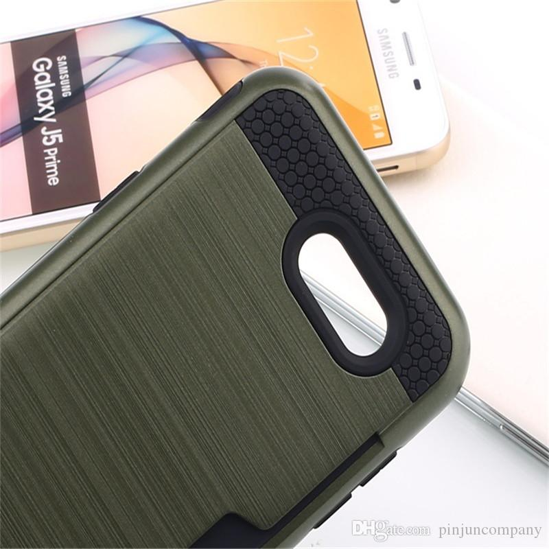 Iphone 6 ARTı 6G LG Stylo 3 ARTı stylus 3 Metropcs Zırh Hibrid Durumda Fırçalanmış Çift Katmanlı Darbeye Kapak Kredi kartı yuvası