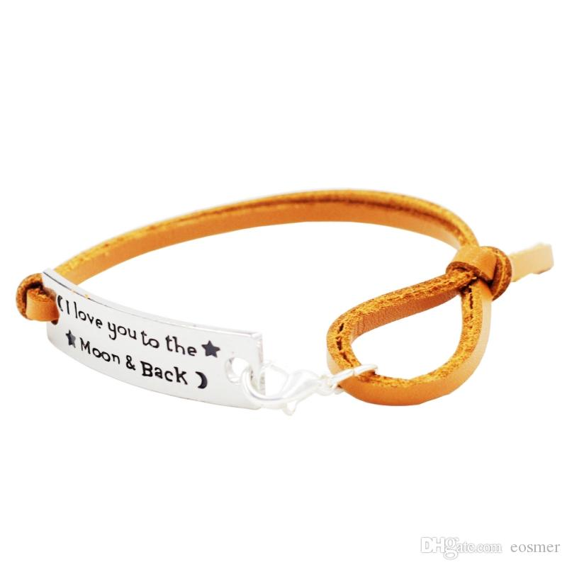 Ich liebe dich bis zum Mond und B verstellbare Leder inspirierende Silber Leder inspirierende Armband mit Ermutigung Zitat Worte Geschenke