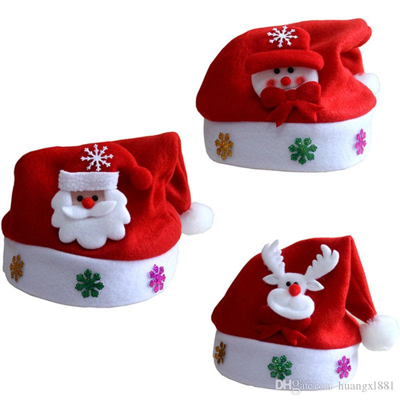 Kostenloser Versand 2017 vlies kinder kapitel weihnachtsmütze weihnachtsdekoration hut weihnachtsmann schneemann niedlichen kinder dekorative hut