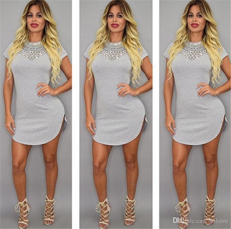 Летняя сексуальная повязка Bodycon Club Dress с коротким рукавом Сплит повязка Bodycon Дешевые О-Образным вырезом Fashion Party Хлопок Повседневная футболка Платья для женщин