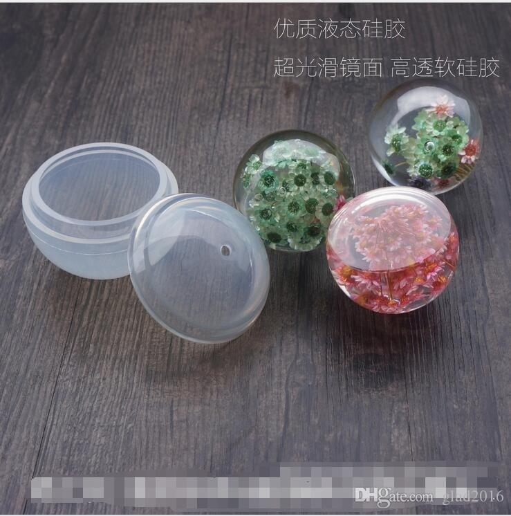 Sphere Ball Shape Silicone Mold Pendant Mould For Resin with Real Flower DIY Jewelry Making Tools Craft