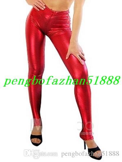 Pantaloni unisex Pantaloni Pantaloni stretti sexy Pantaloni i Pantaloni lisci metallici lucidi Pantaloni Halloween Party Fancy Dress Cosplay Suit P116