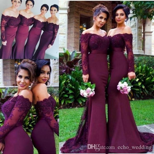 b3f51f72e2a Mermaid Bridesmaid Dresses 2017 Off the Shoulder Long Sleeves Vintage Lace  Applique Beading Wedding Guest Gowns Formal Wedding Guest Dresses
