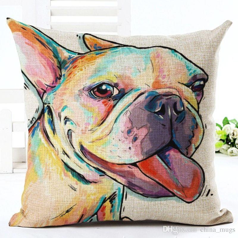 2018 صوفا وسادة القضية الثور الكلب رسمت وسادة الألماني 18 أنماط ساحة القطن الكتان رخيصة غطاء وسادة للمنزل