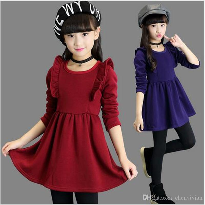 ac73066af4c 2018 Brand Girls Winter Warm Dress Girls Beautiful Long Sleeve Thick ...