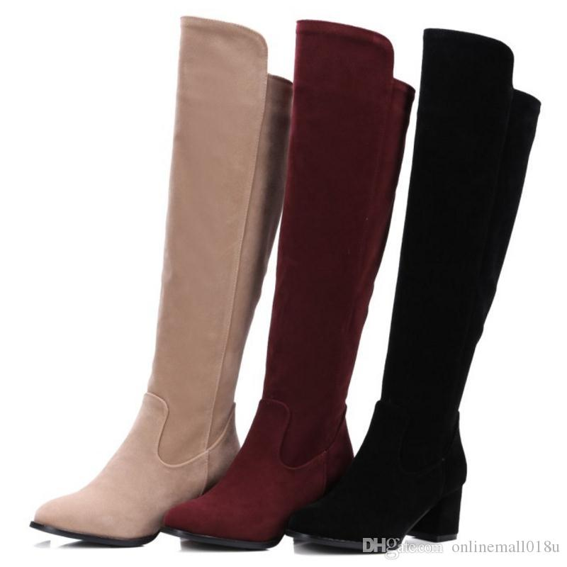 3b5a901682c South Korean Style Autumn Over Knee High Boots Round Toe Side Zipper ...