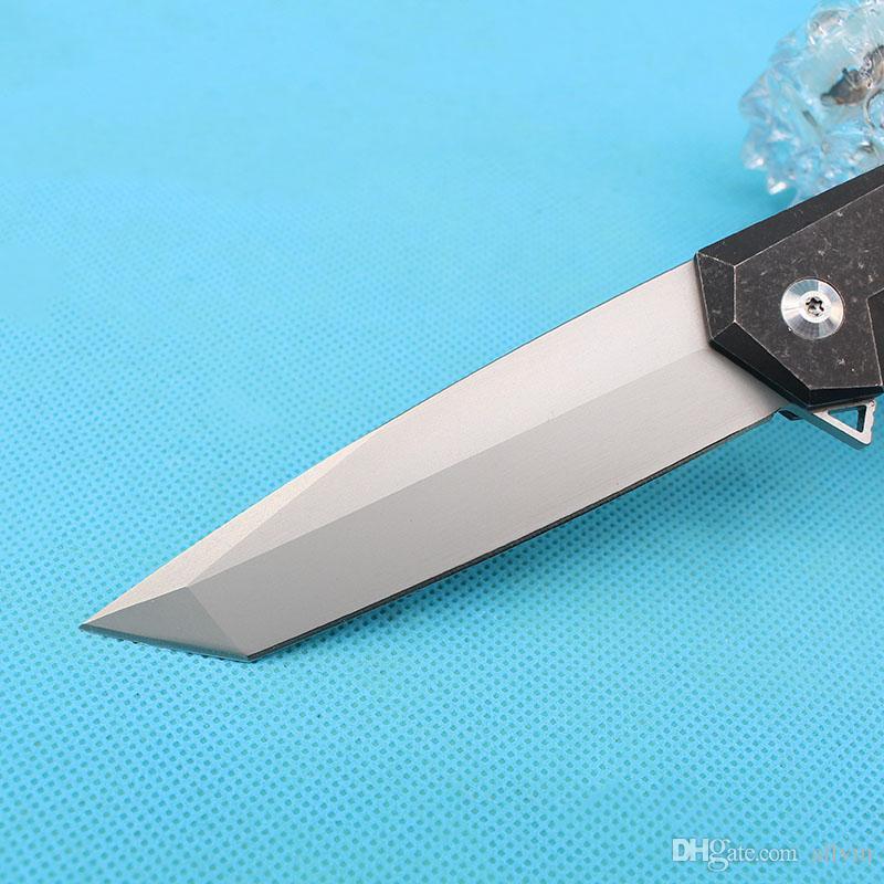 2017 Yeni 2 Stil Flipper Katlanır Bıçak D2 Titanyum Bıçak TC4 Titanyum Aloy Kolu Naylon Torba Ile EDC Cep Bıçaklar