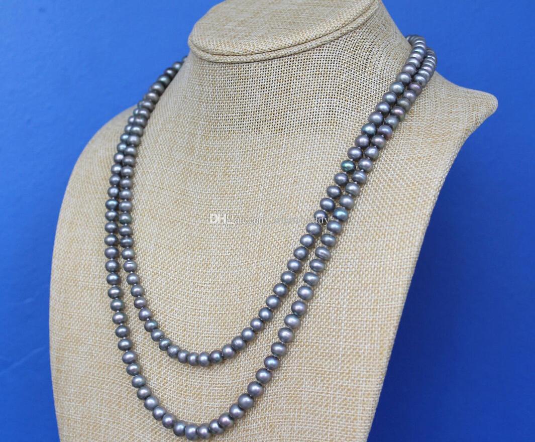 Perles fines bijoux 48 Pouces Long 7-8mm Gris Paon Presque Ronde Perle Corde Collier Pull chaîne