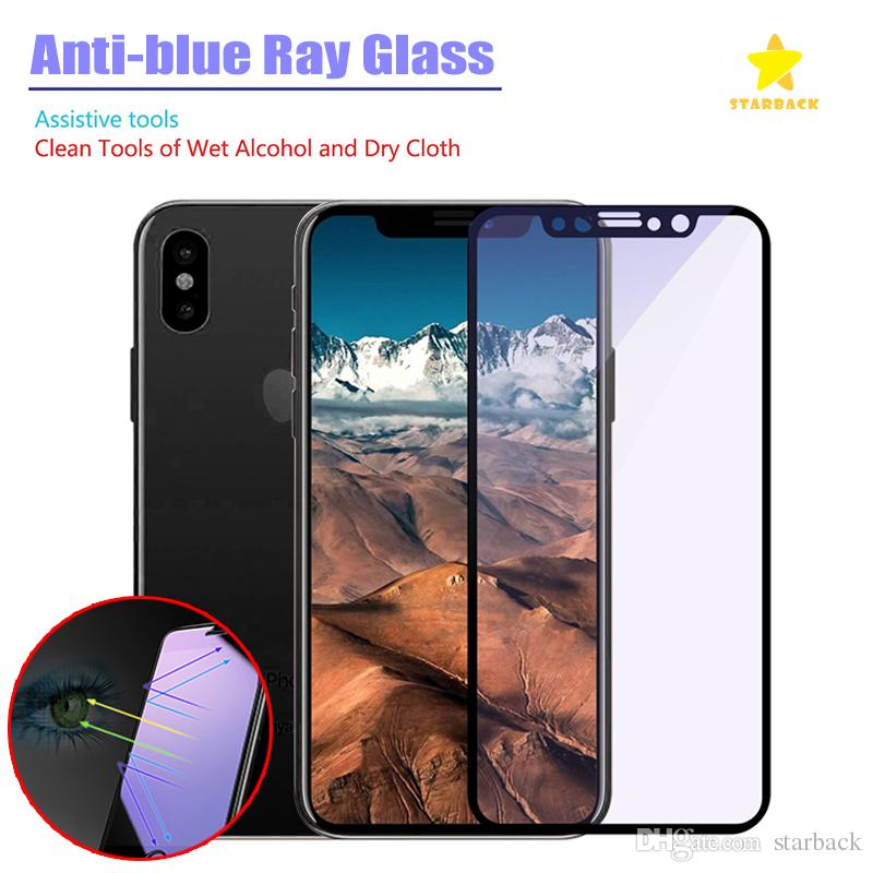brand new de673 0a530 For iPhone 8 Plus iPhone X 3D Full Cover Tempered Glass Soft Edge Screen  Protector Anti Blue Tempered Glass with Retail Package