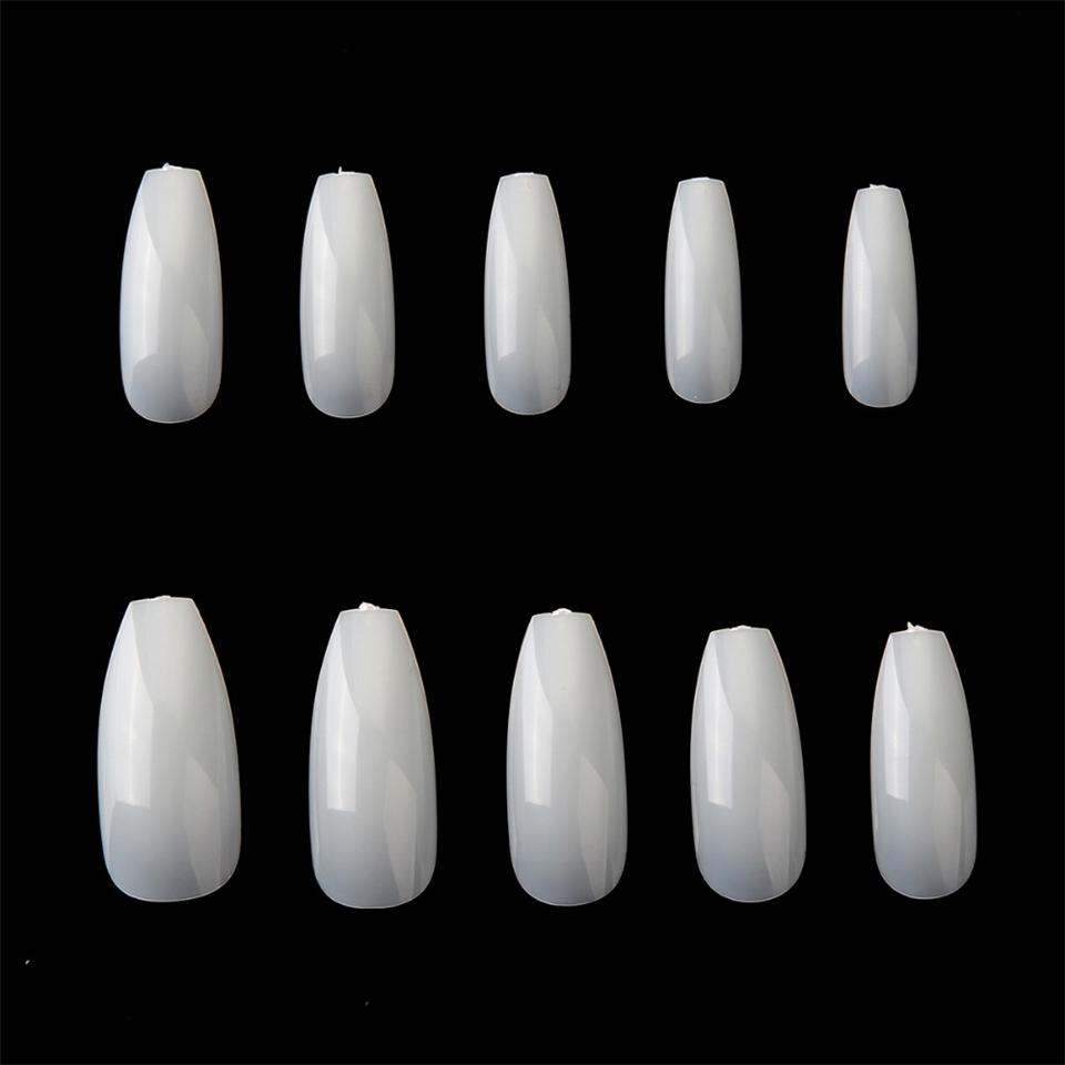 Makartt False Nails Full Nail Tips Clear Natural White Uv Gel ...