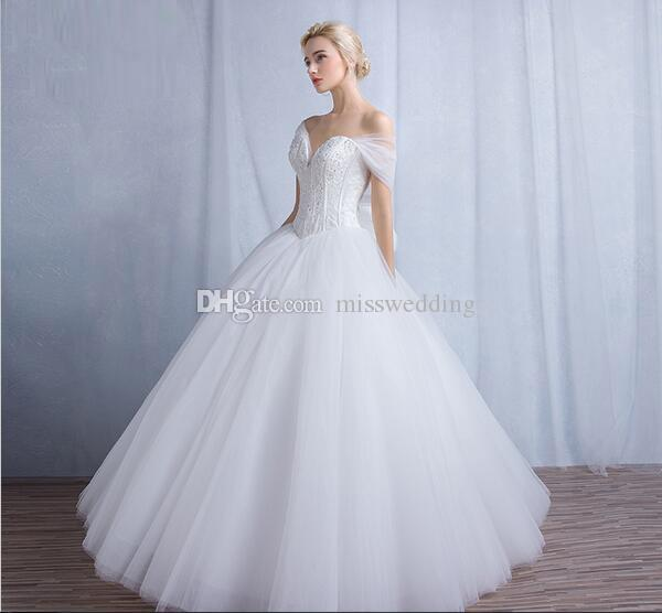 Dropped Waistline White Tulle Beaded Wedding Dress With Bones 2017 Collection Sweetheart Bridal Dress
