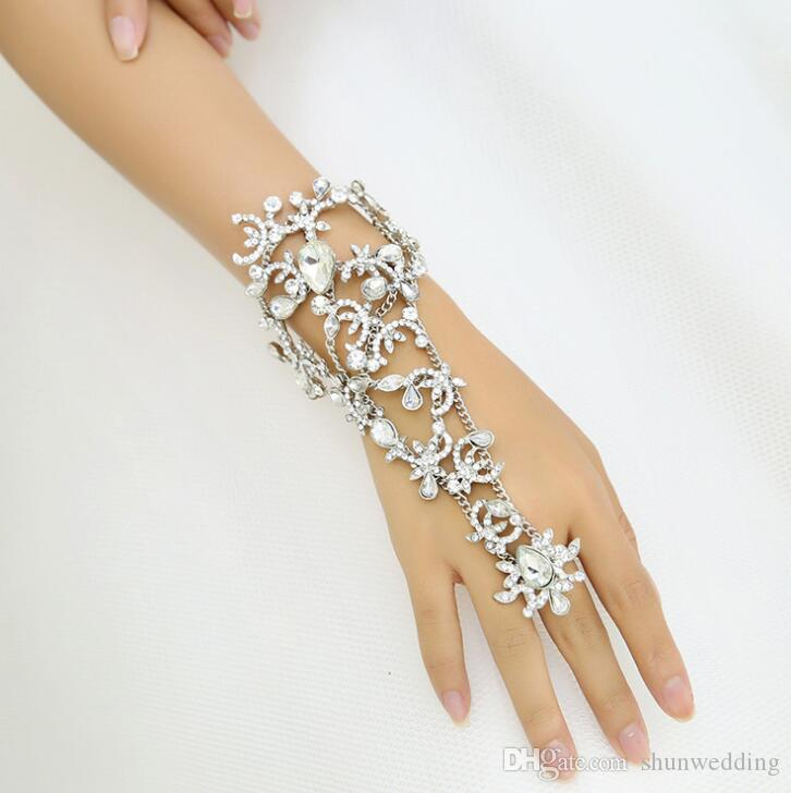 Crystal flower Bridal Bracelets Wedding Accessories Hand Chains Bracelet Women Rhinestone Jewelry Bridesmaid Bracelets & Bangles Hot