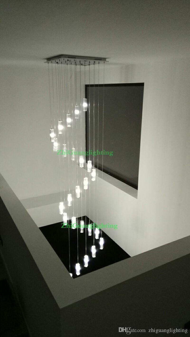 Merdiven Avize kristal merdiven aydınlatma spiral avizeler merdiven modern led avize Paslanmaz Çelik asılı lamba kolye ışık