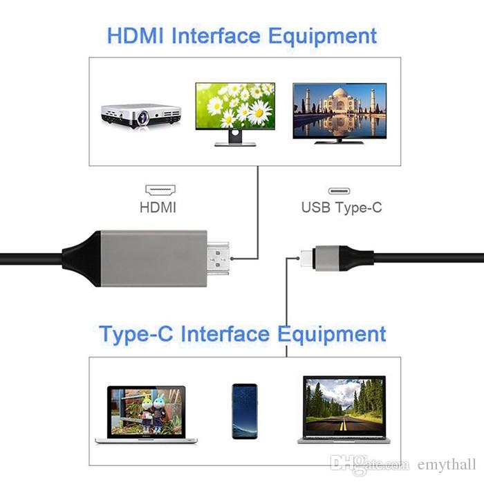 Type C to HDMI Cable 4K 2K High Speed HDTV AV Cable Adapter For MacBook ChromeBook Pixel Galaxy S8 plus 200 cm with retail package