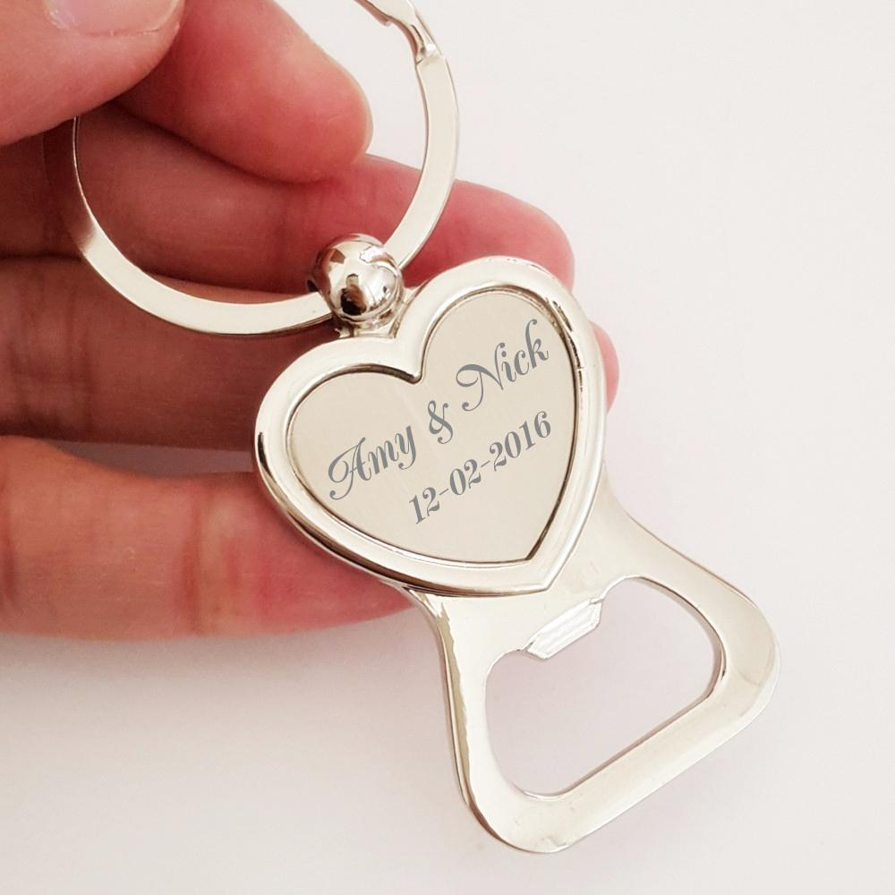 50x Free Engraved Personalised Wedding Favour Love Heart Keyring ...