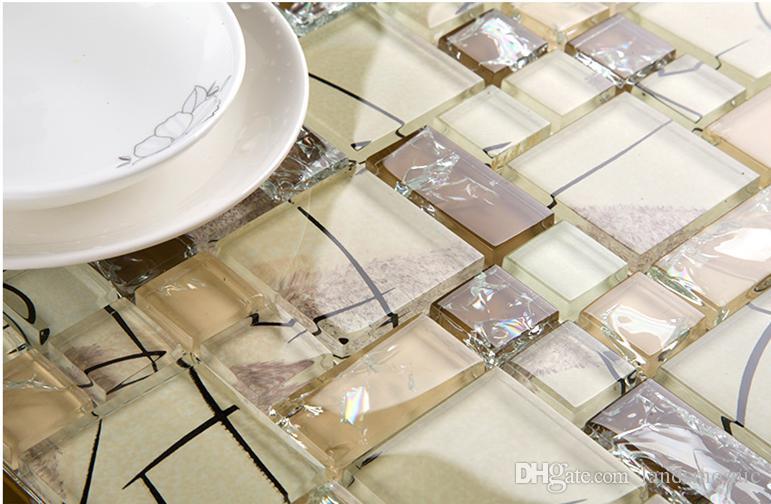 Acquista cristallo ice crack mosaico in vetro piastrelle cucina