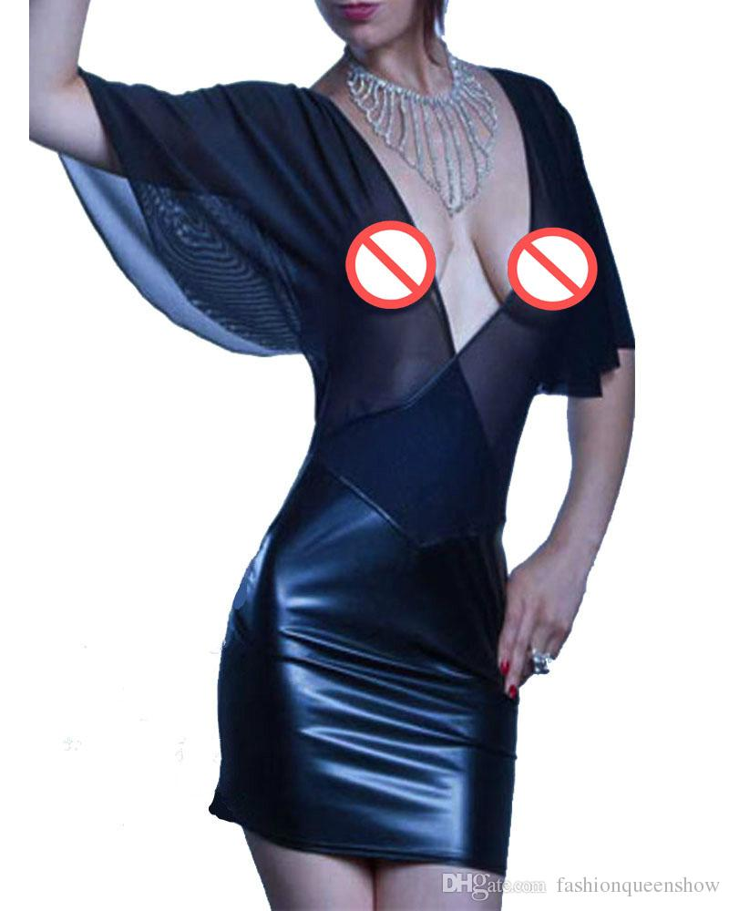 Ladies Deep V-Neck Transparent Leatherette Mini Dress Sexy Backless Party Clubwear Batwing Sleeve Chiffon Dress S-XXXL