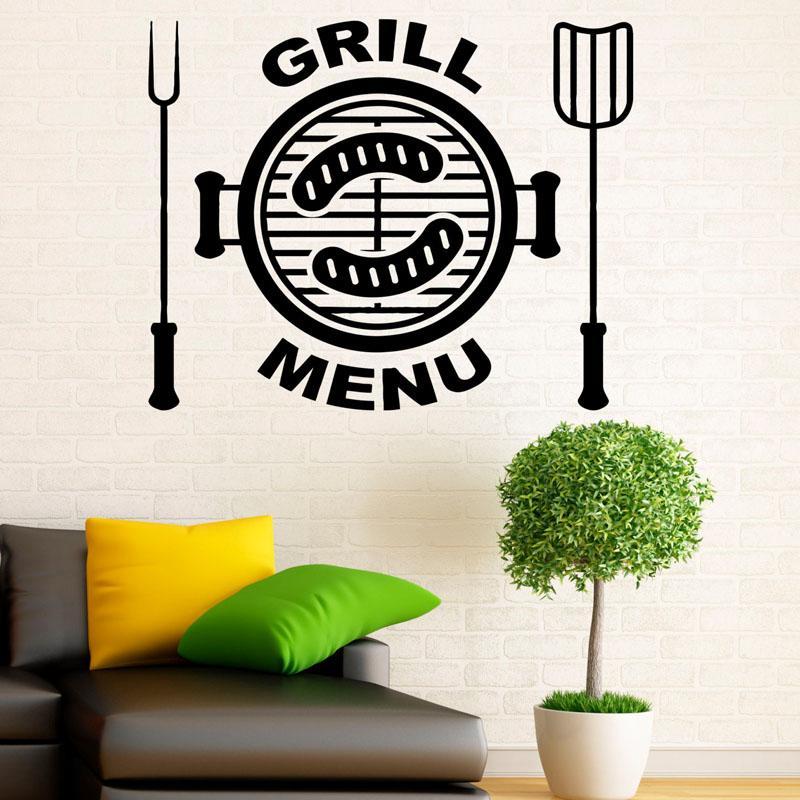 grill menu wall decals food stickers art design waterproof fashion