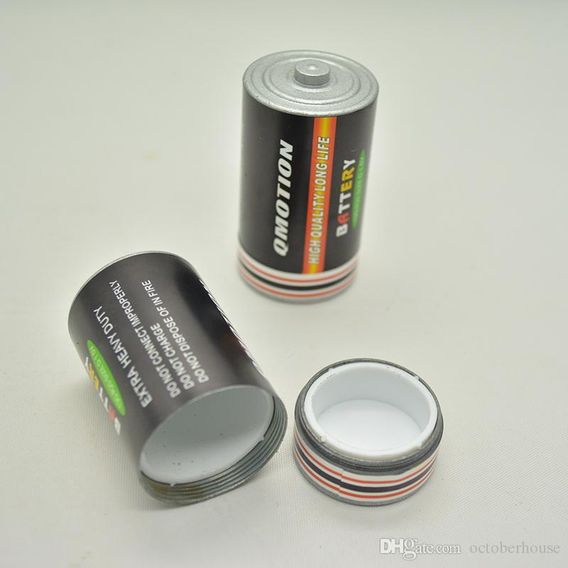 Secret Stash Diversion Pill Box Case En forma de batería Tamaño mediano Hierba Tabaco Jarra de almacenamiento Contenedor oculto 25x49mm Aleación de zinc