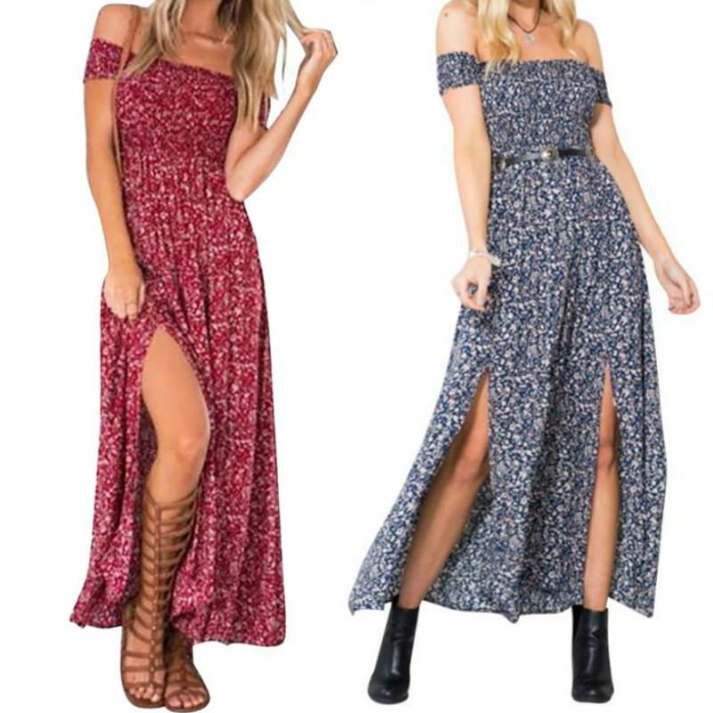 ad5e2c167 Summer Women's Vintage Dress Boho Floral Print Off Shoulder Split Tube Long  Party Maxi Dress Beach Dresses Backless Elegant Dress Plus size