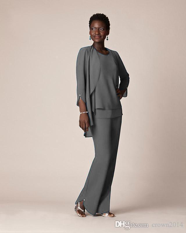 Trajes de pantalón formal de gasa gris para madre Vestidos de novio Ropa de noche Vestidos largos de madre de la novia con chaquetas Tallas grandes por encargo