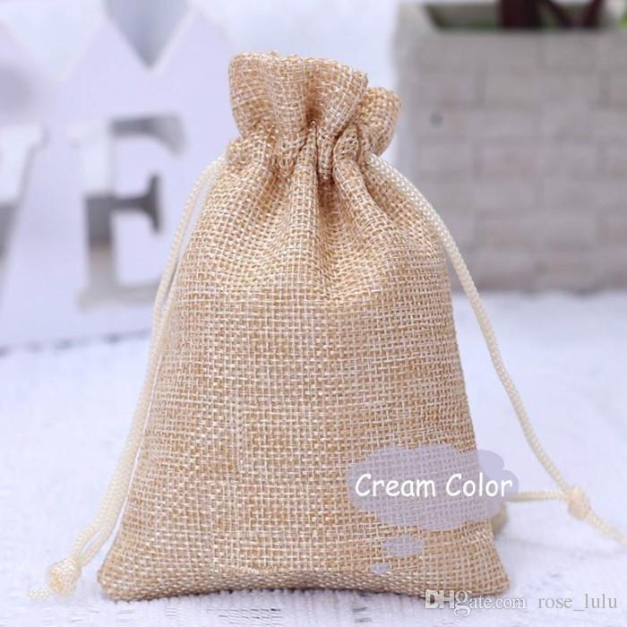 الجملة 5 ألوان أكياس الخيش مع أكياس الجوت الرباط هدية شملت القطن بطانة الحجم 3.5
