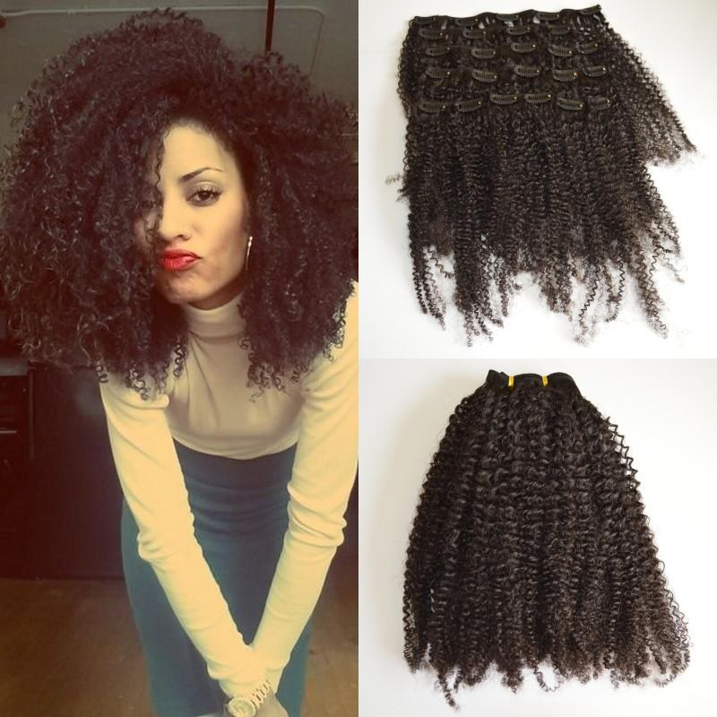 Peruvian Human Hair Afro Kinky Curly Clip In Hair Extension For