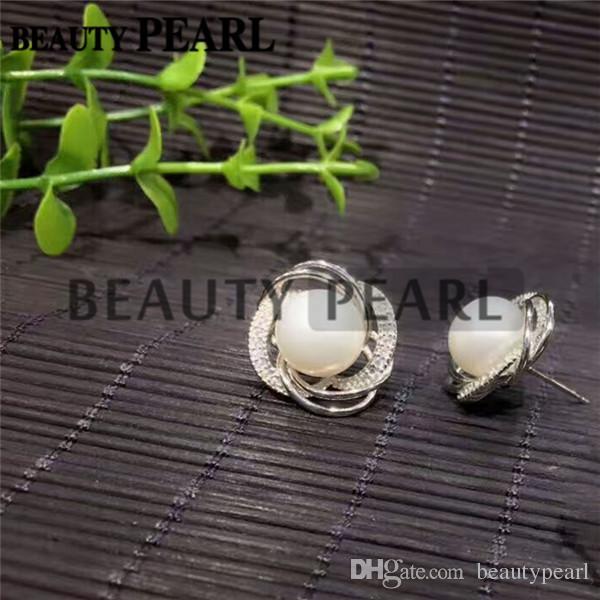 Жемчужной сережкой Настройки Великолепный дизайн 925 стерлингового серебра Цирконом Цветочные серьги стержня Монтажное 5 пар