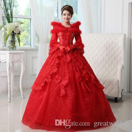 36b5154cc8a 100%реальная роскошь красный белый цветок перо воротник Снежная королева  косплей костюм принцессы средневековое платье сказка платье партии фестиваль