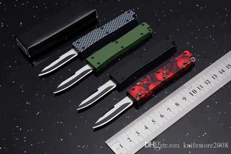 Hebilla de llave Mini acción Drop point 440 Single Blade Doble acción Auto EDC camping exterior Tactical knife cuchillos