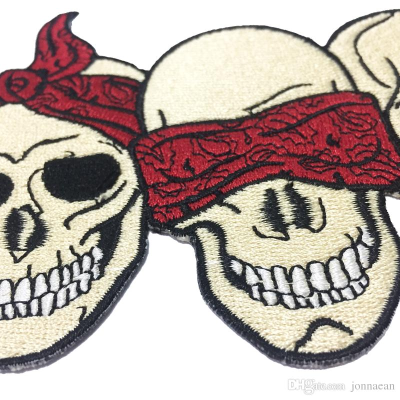 New Arrival Three Masked Skull Head Embroidered Patch Iron On Clothing Front Jacket Vest Rider Patch 5