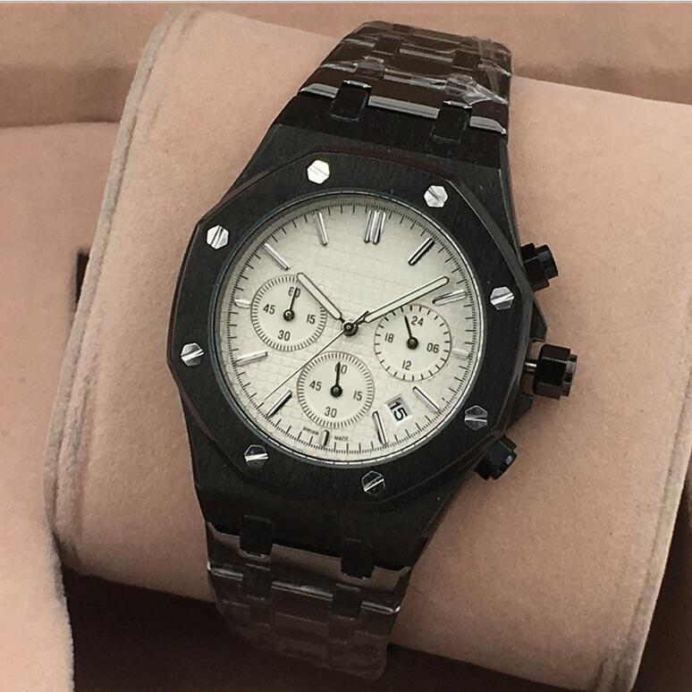 Tüm Subdials Çalışmak AAA Mens Saatler Paslanmaz Çelik Kuvars Saatı Kronometre erkekler için Lüks İzle relogies relojes En Iyi Hediye1