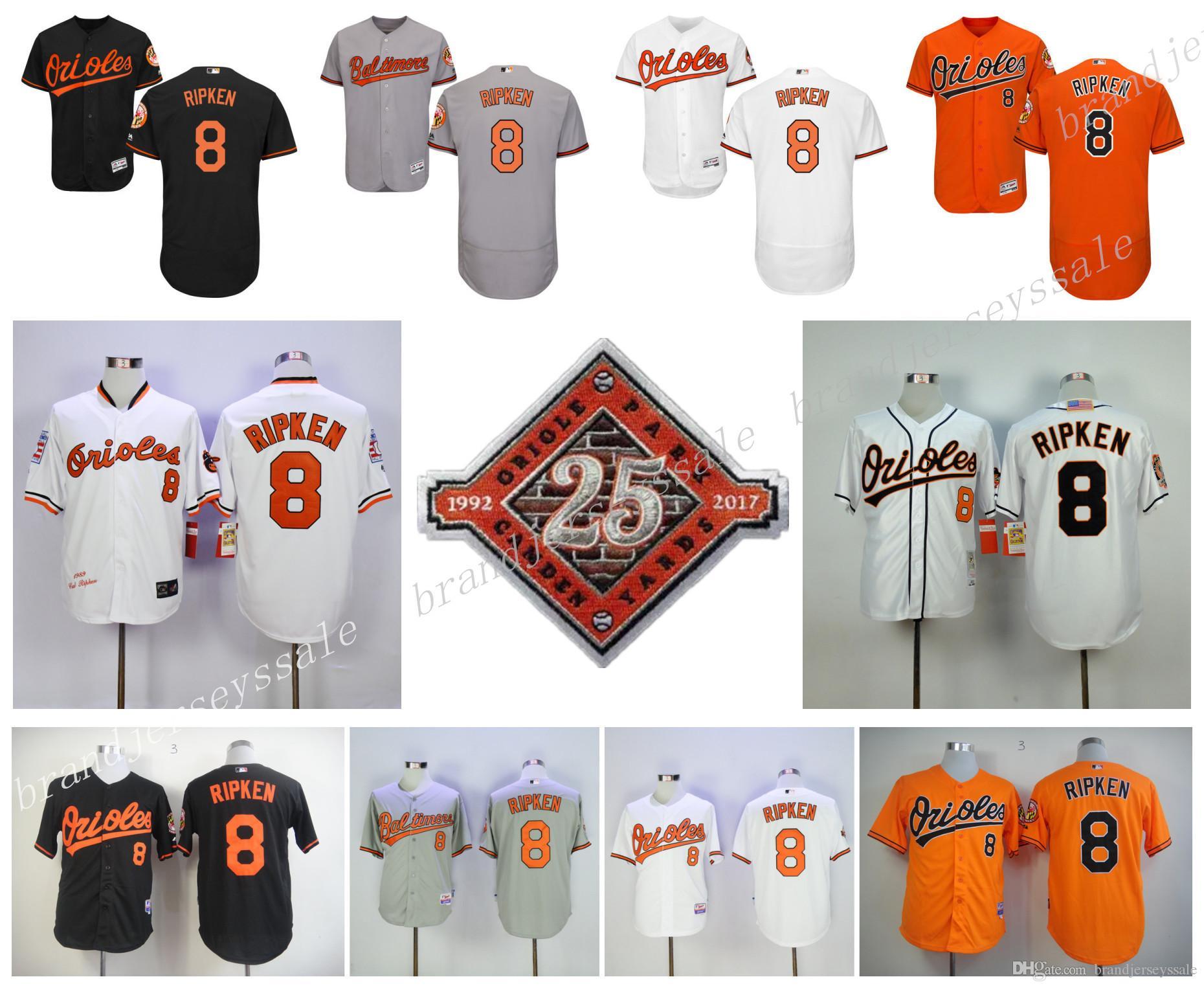 8d84d859d ... ebay 2017 mens baltimore orioles 8 cal ripken jr jerseys majestic  orange white balck gray cream