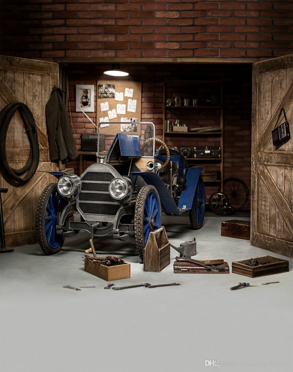 2018 Vintage Garage Photography Backdrop Blue Car Wooden