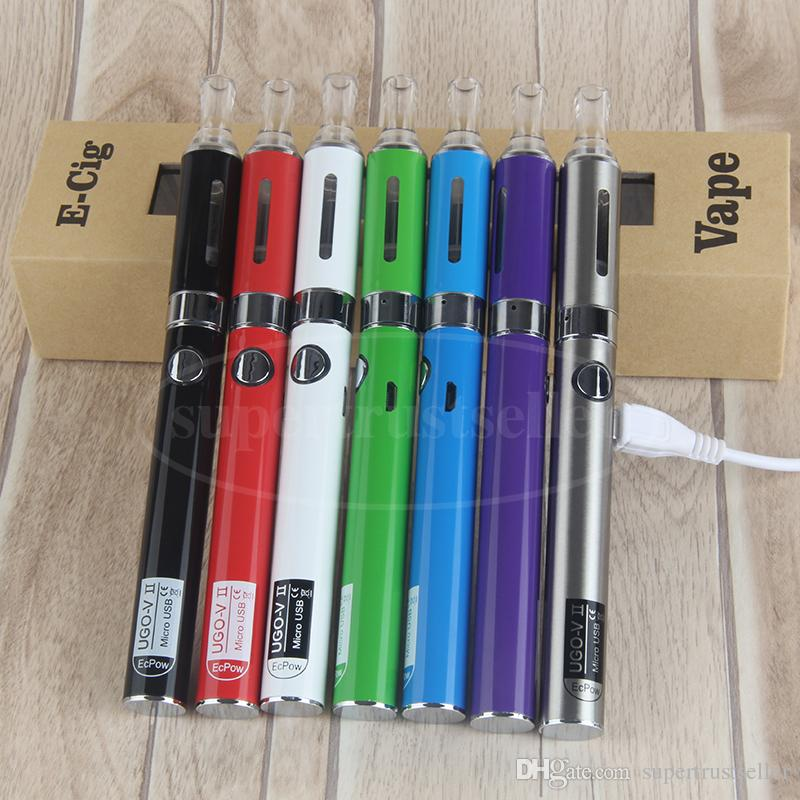 MT3 EVOD VAPE PEN AGO STARTER KIT BOX BACK CONSUMONS CON 650 900 MAH UGO V II Micro USB pass USB tramite batteria vaporizzatore