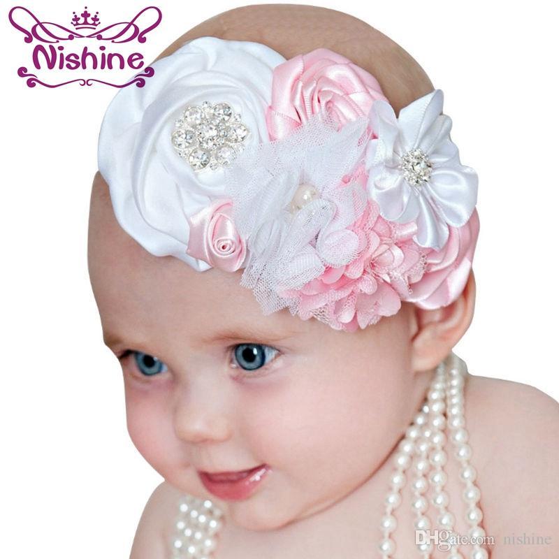 Compre Nishine Moda Fita Rendas Subiu Flor Headband Meninas Bonitas Headwear  Elastic Crianças Hairband Crianças Acessórios Para O Cabelo De Nishine 8ac2c2fdc8bf