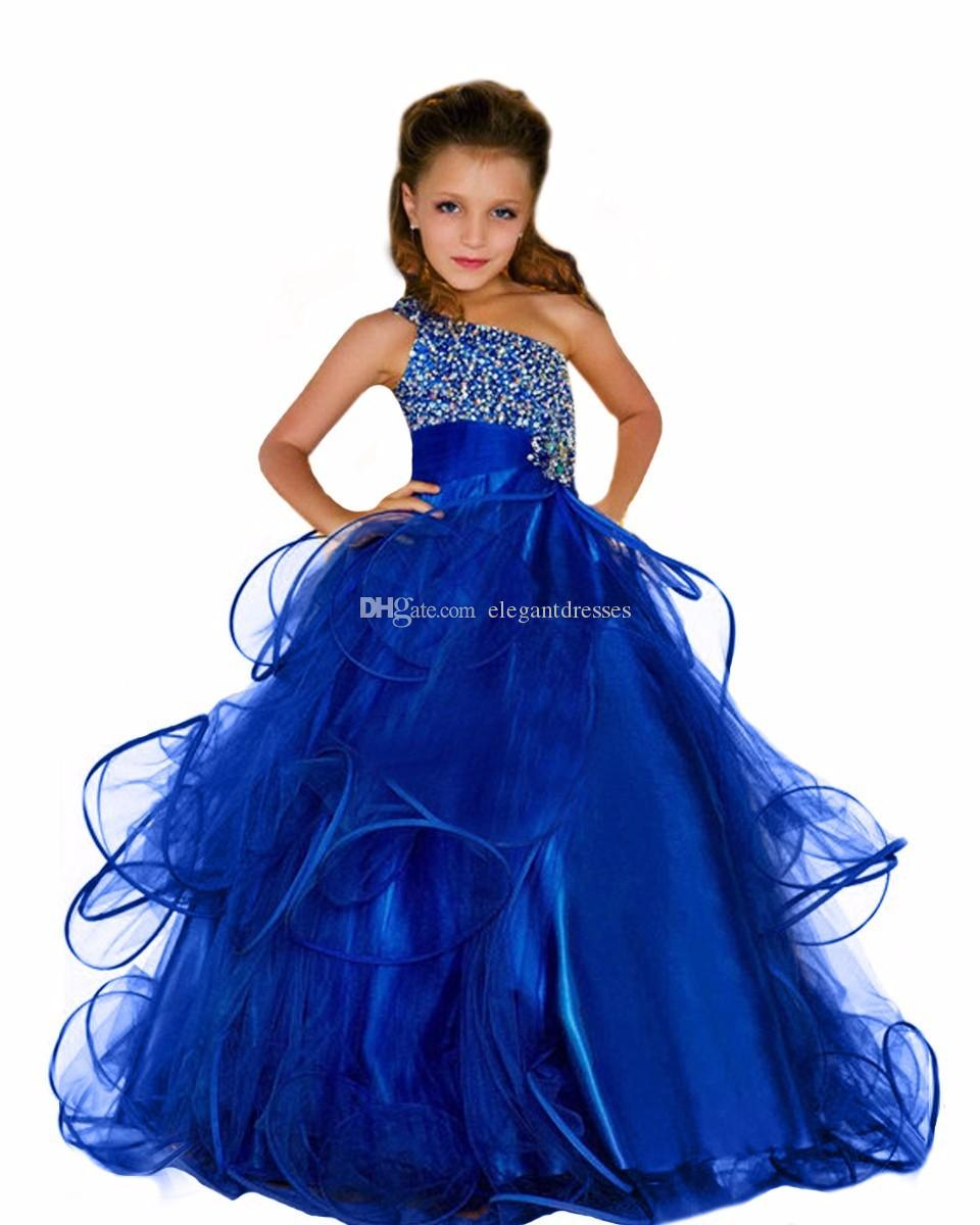 2018 beaded elegant curvy pageant dresses for girls fluffy long kids prom dress royal blue pageant ball gown dress for flower girls