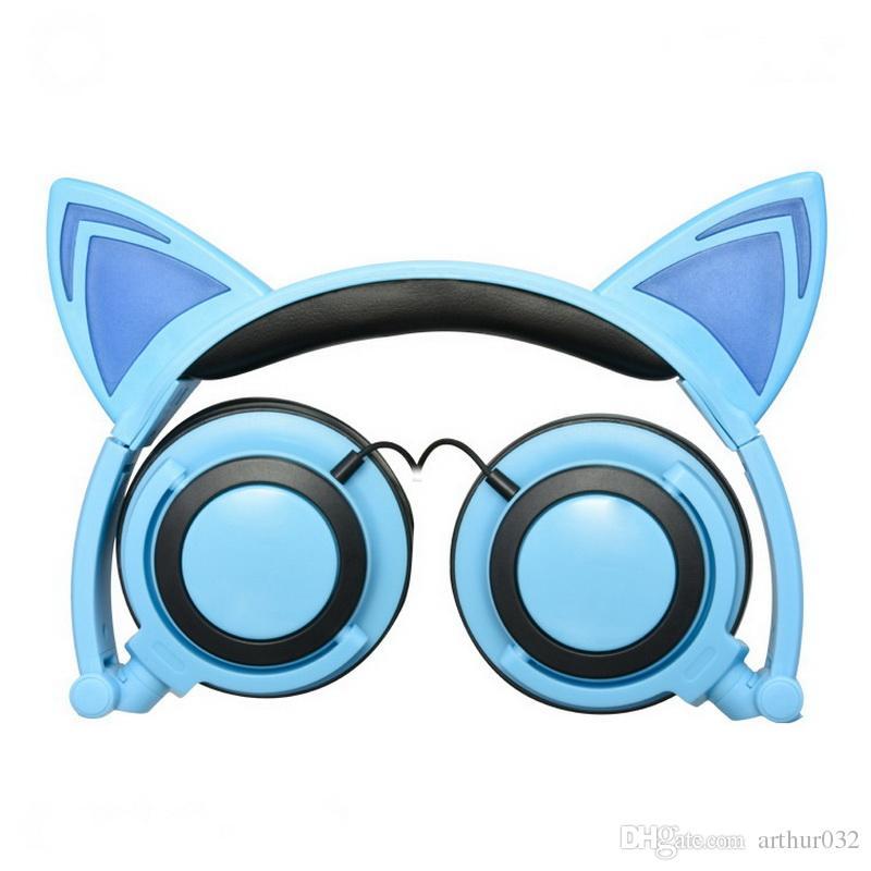لطيف سماعات الأذن القط مع الصمام ضوء وامض طوي متوهجة الألعاب العفريت سماعة الموسيقى MP3 سماعة لأجهزة الكمبيوتر المحمول هاتف حاسوب المحمول
