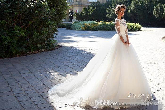 Country Vintage Lace 2021 Brautkleider O Halsausschnitt Halb Lange Ärmel Perlen Tüll Prinzessin A-line Günstige Brautkleider plus Größe