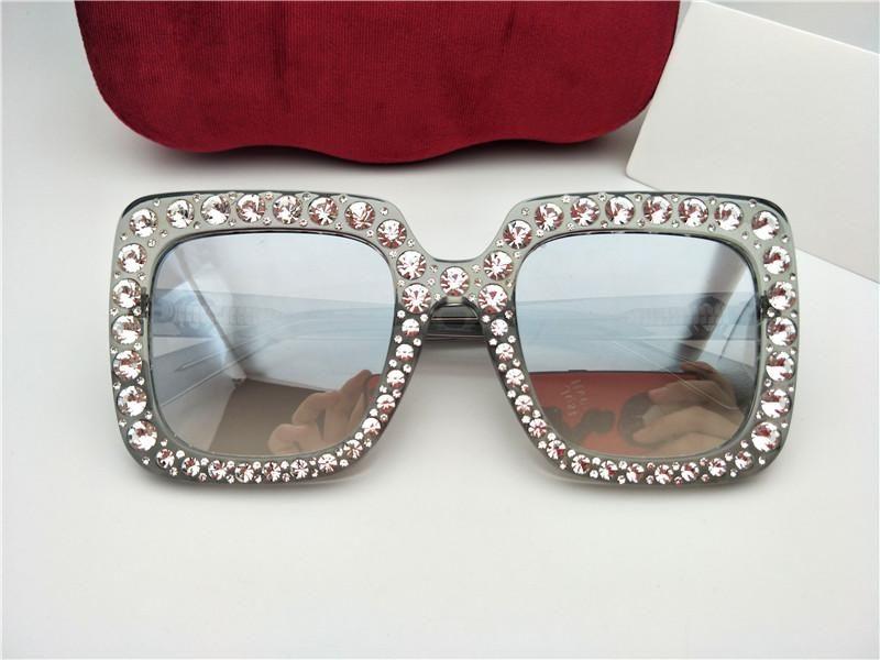 New designer sunglasses 0148 mosaic diamonds design fashion sunglasses for women large square frame small legs sun glasses