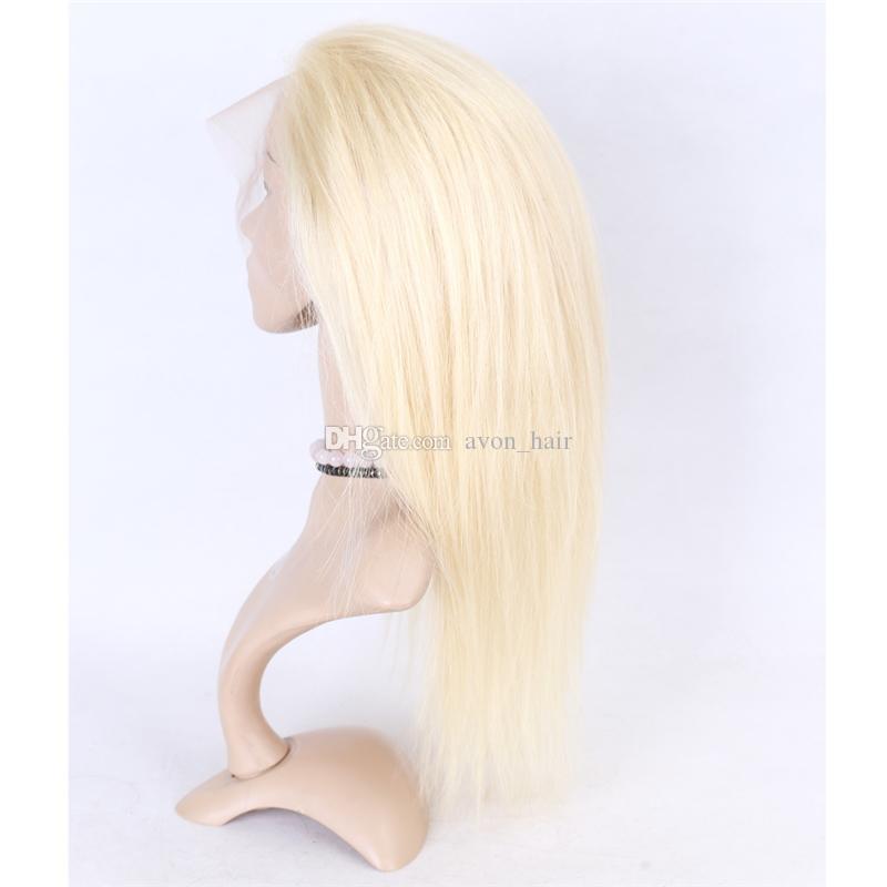 Glueless Full Lace Wig Blonde 613 Perruque en dentelle humaine avec des cheveux de bébé platine soyeux avant de la dentelle droite perruque sans part blanchie noeud