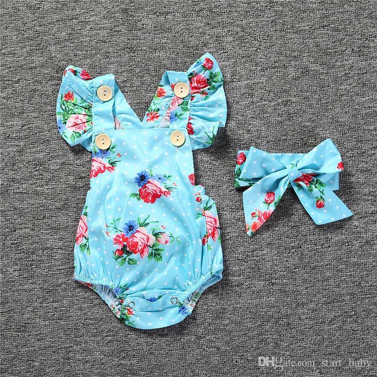 Säuglingsbaby-Blumenspielanzug Bodysuit mit Stirnbändern Rüschenärmel stellte Knöpfe 2017 Sommer Ins Schriftsätze 0-2years ein