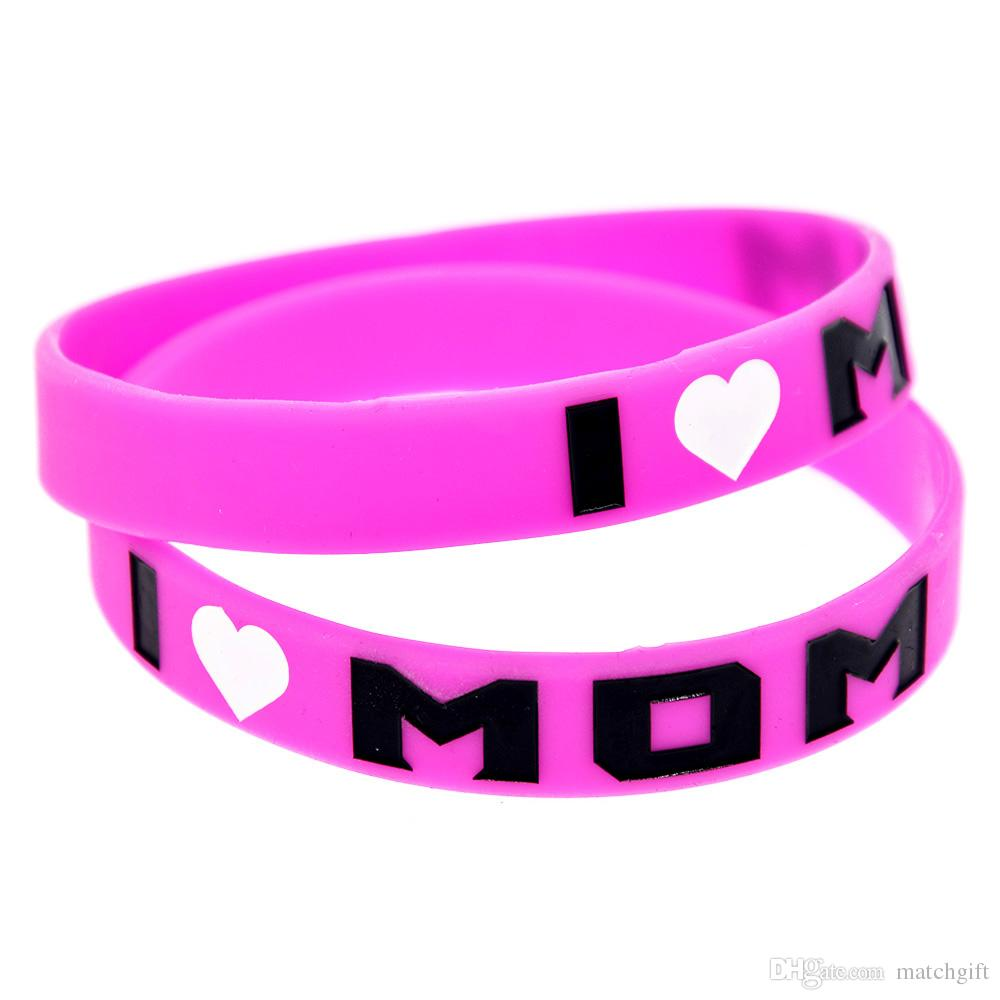 I Love Mom Silicone Wristband Fashion Bangle Flexible And Strong. Wear This Bracelet To Show Your Difference